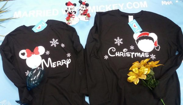 Merry Christmas Disney Matching Shirts Mickey Minnie Mouse Head Snowflakes married with mickey mwm