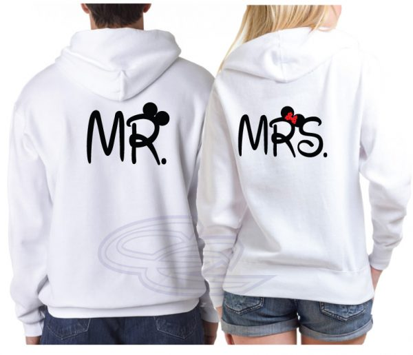 Disney Cute Couple Shirts For Mr and Mrs With Names/Custom Wedding Date