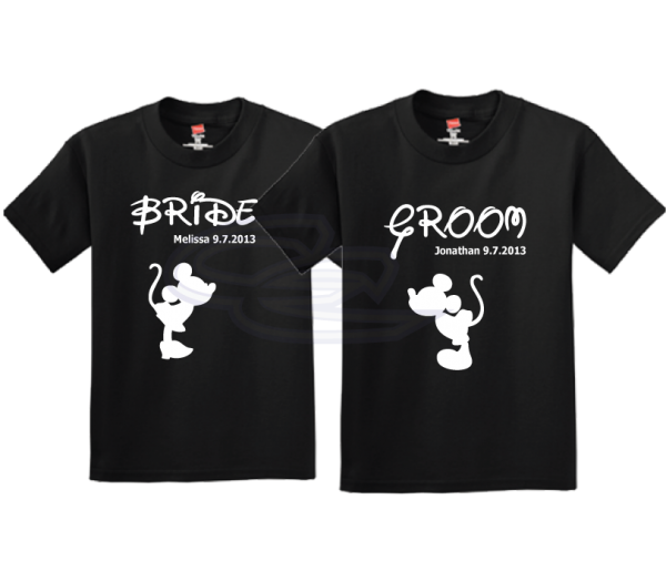 Bride Groom Mickey Minnie Mouse Kiss Wedding Date Disney Couple Shirts