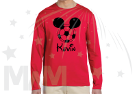 Mickey Mouse Football Head Design Custom Name Mens Red Long Sleeve married with mickey mwm