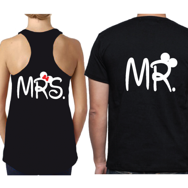 Mr and Mrs Disney Cute Couple Matching Shirts With Your Wedding Date