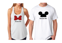 His Hers Minnie Mouse Bow Mickey Mouse Head With Wedding Date