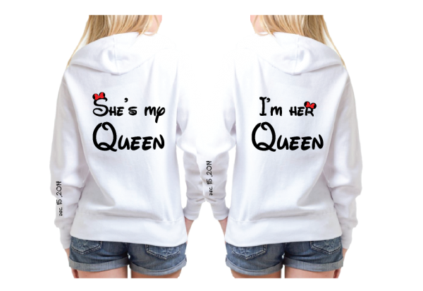LGBT Lesbian She's My Queen I'm Her Queen Kissing Minnie Mouse, Wedding Date