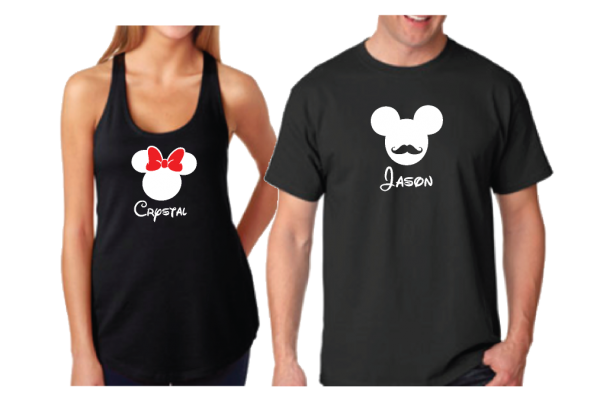 Mickey Mouse Mustaches Minnie Mouse Bow With Custom Names Matching T Shirts
