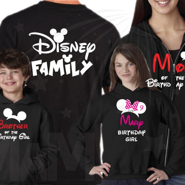 Disney Matching Family Shirts Birthday Girl (Boy) Shirt With Name And Age, Mom Dad Sister Of Birthday Girl (Boy) married with mickey mwm