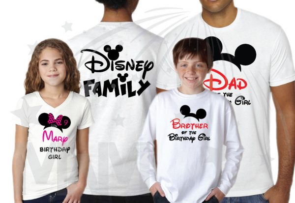 Disney Family Shirts Birthday Girl (Boy) Shirt With Name And Age, Mom Dad Sister Of Birthday Girl (Boy) married with mickey mwm