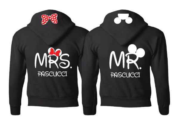 I Do Wedding Date Mr Mrs Custom Last Name, Cute Micnnie Mouse Polka Dot Red Bow and Mickey Mouse Head On Hood