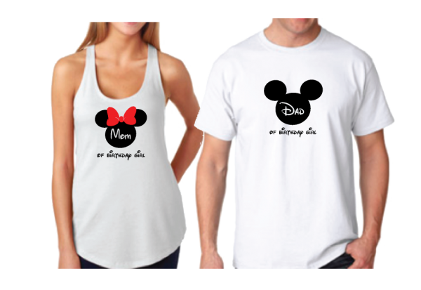 Dad and Mom Of Birthday Girl (Boy) Disney Family Couple Shirts