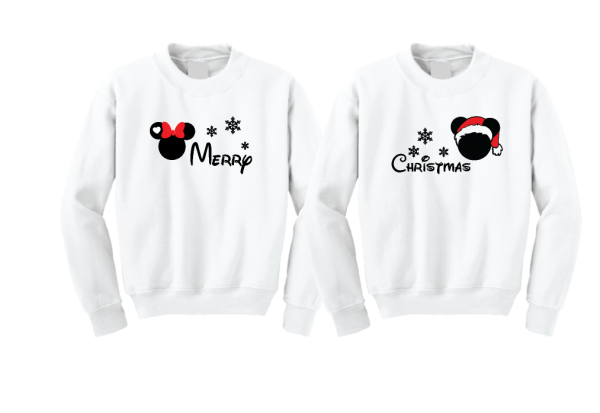 Merry Christmas Disney Matching Shirts Mickey Minnie Mouse Head Snowflakes