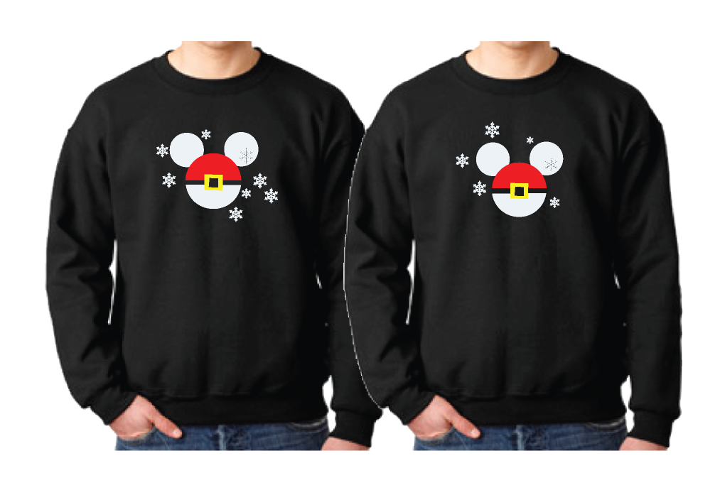 Mickey Minnie Mouse Heads Santa Claus Christmas Shirts For Family ...