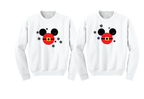 Mickey Minnie Mouse Heads Santa Claus Christmas Shirts For Family With Snowflakes Hoodies, Zip Ups, Sweatshirts, V Neck T-Shirts and more