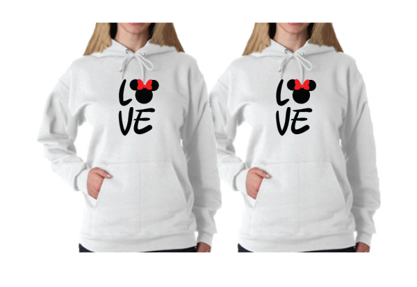 LGBT Lesbian Shirts Love Hers Minnie Mouse Head With Cute Red Bow Ladies T-Shirts, Woman's V Neck Tshirts, Ladies Tank Tops and more