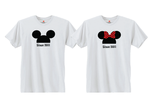 Love Mickey Minnie Mouse Heads With Wedding Date Mickey's Hands in Heart Shape
