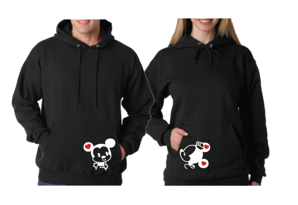 LOVE Little Mickey Minnie Mouse Kissing Matching Couple Apparel