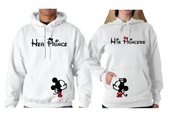 Her Prince His Princess Mickey Minnie Mouse Kissing On Front Design Pocket