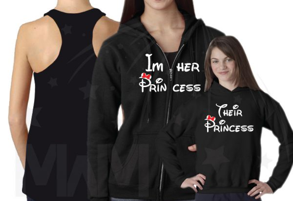 Matching Family Shirts, LGBT Lesbian Parents I'm Her Princess She's My Princess Their Princess (3 and more shirts) married with mickey mwm