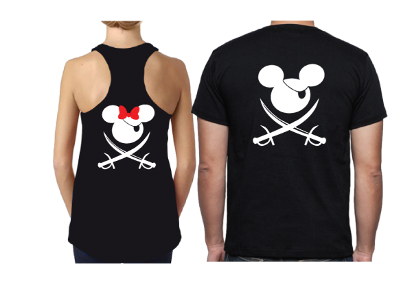 Mickey Minnie Mouse Cute Pirate Couple Shirts Hubby Wifey