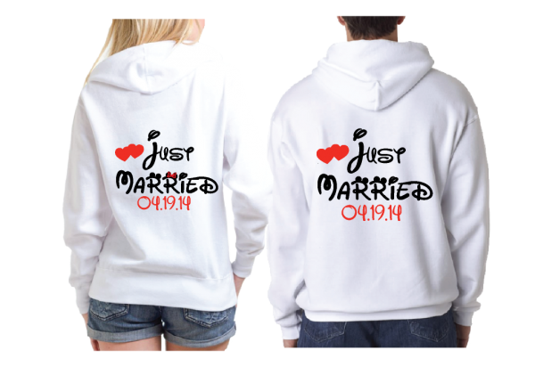 Just Married Little Mickey Minnie Mouse Kiss Custom Wedding Date