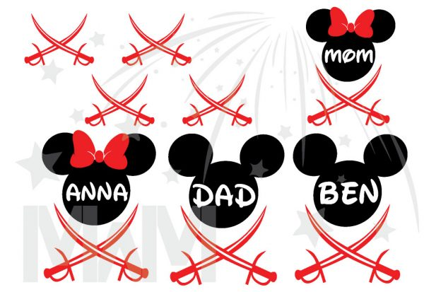 Family Pirate Matching Shirts With Swords and Names married with mickey mwm
