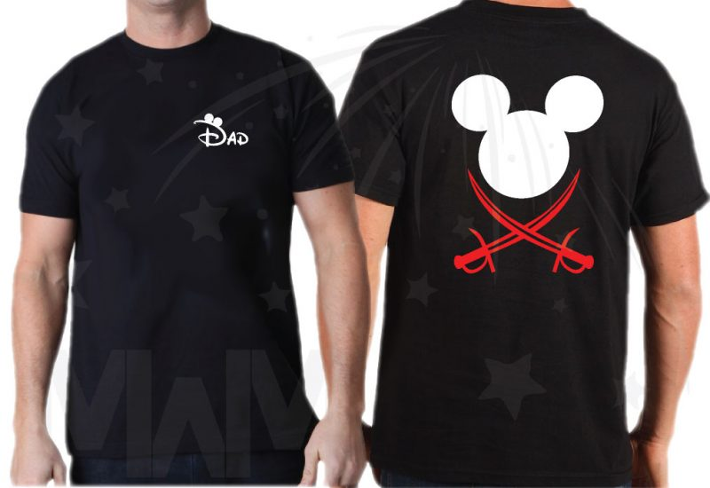 Family Pirate Matching Shirts With Swords and Names on Front married with mickey mwm