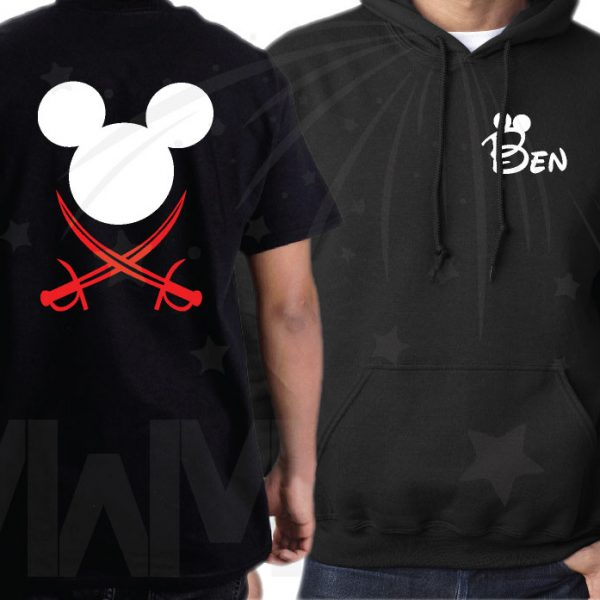 Family Disneyland Matching Pirate Shirts With Swords and Names on Front married with mickey mwm