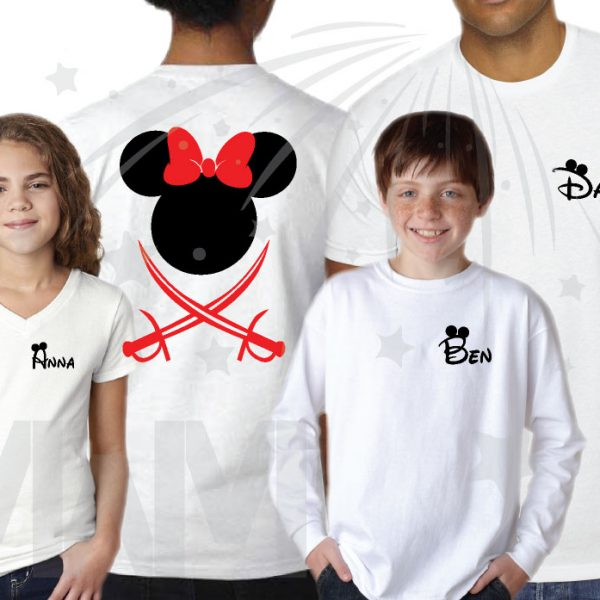 Disney Matching Family Vacation Pirate Matching Shirts With Swords and Names on Front married with mickey mwm