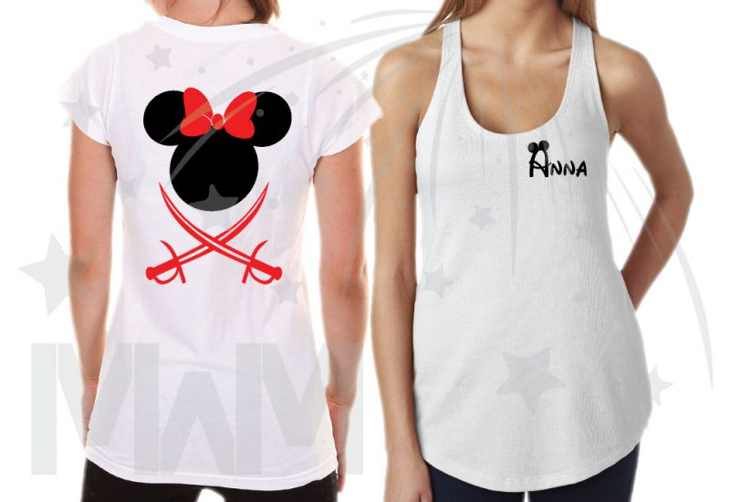 Disney Family Pirate Matching Shirts With Swords and Names on Front married with mickey mwm