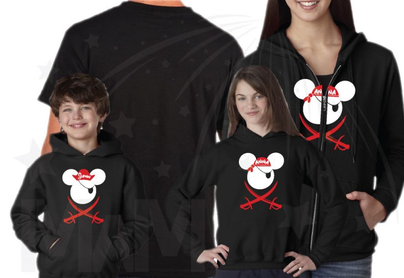 Mickey Mouse Disney Family Pirate Matching Shirts With Eye Patch and Swords Front Design Mickey Mouse Pirate married with mickey mwm
