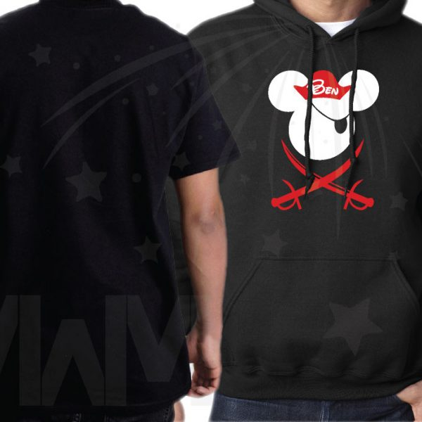 Family Matching Shirts With Eye Patch Swords and Pirate Hats Front Design married with mickey mwm