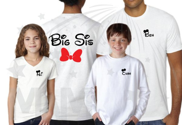 Disney Family Vacation Shirts, Hubby Wifey Big Bro Lil Bro Lil Sis with custom names on front (enter as many shirts as you need) Disney Mickey Pants Minnie Mouse Bow married with mickey mwm