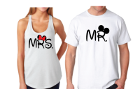 Mrs Mr Wedding Date Mickey's Hands In Heart Shape