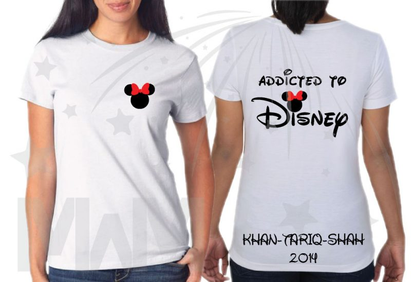 Addicted To Disney Family Vacation 3 and more Shirts With Mickey Minnie Mouse Heads Last Name Special Date married with mickey mwm