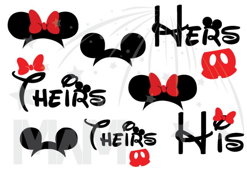 Disney Family Matching Shirts His Hers Theirs Minnie Mouse Cute Red Bow Mickey Mouse Head Pants married with mickey mwm