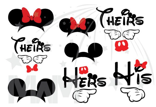 Disney World Vaction Family Shirts His Hers Theirs With Mickey Mouse Pointing Hands Minnie Mouse Cute Head Red Bow Mickey Mouse Head Pants married with mickey mwm