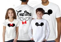 Disneyland Vacation Family Shirts His Hers Theirs With Mickey Mouse Pointing Hands Minnie Mouse Cute Head Red Bow Mickey Mouse Head Pants married with mickey mwm