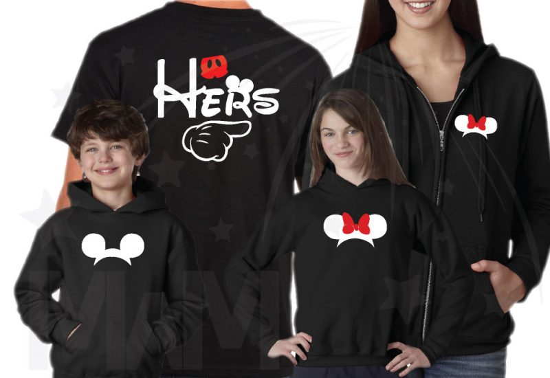 Disney Matching Vacation Family Shirts His Hers Theirs With Mickey Mouse Pointing Hands Minnie Mouse Cute Head Red Bow Mickey Mouse Head Pants married with mickey mwm