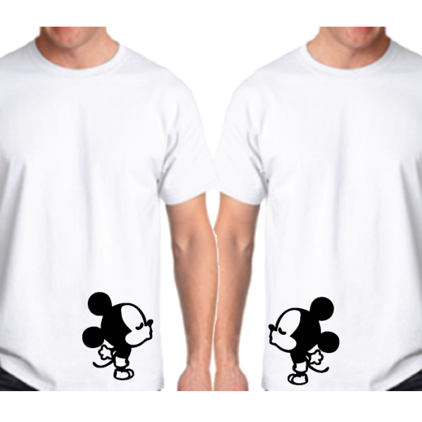 LGBT Gay His Matching Couple Shirts Mickey Mouse Cute Kissing