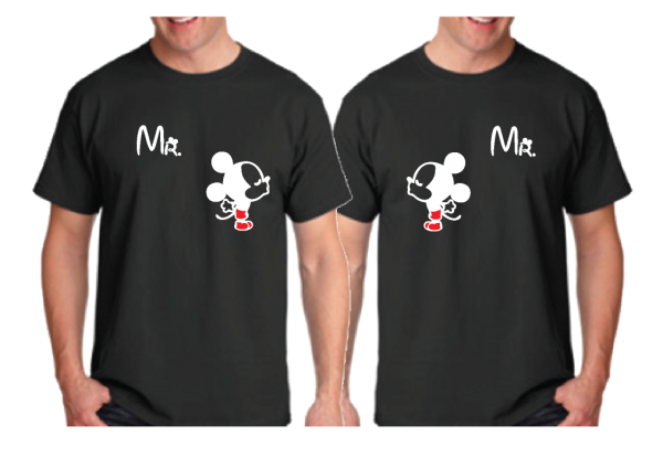 LGBT Gay Matching Shirts Kissing Mickeys He's Mine Cute Couple