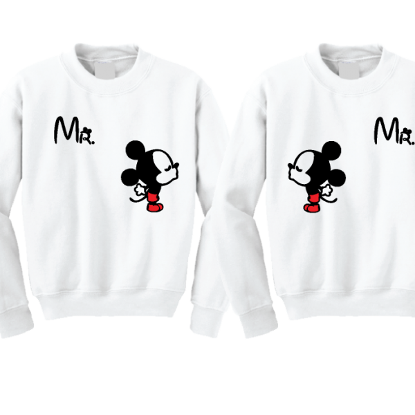 LGBT Gay Matching Couple Shirts For Mr With Very Cute Little Kissing Mickey Mouse