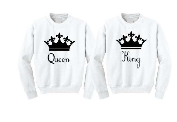 Queen and King Crown Matching Cute Couple Shirts