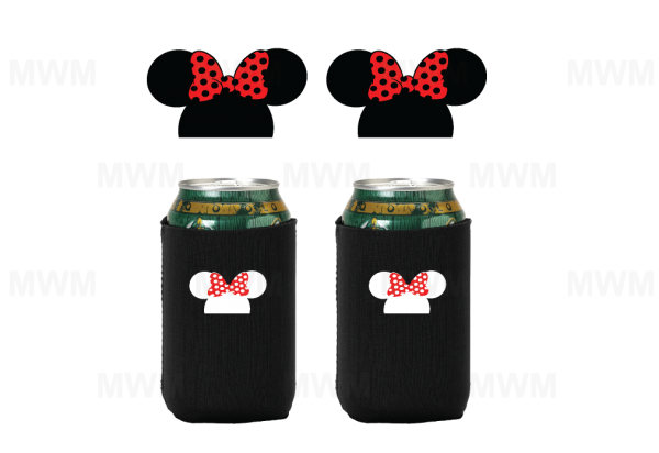 LGBT Lesbian Matching Couples Neoprene Can Holder for Mrs, Soul Mate, Princess, Minnie, Ears Bow, Keep your beverage of choice nice and cold with this handle neoprene can holder