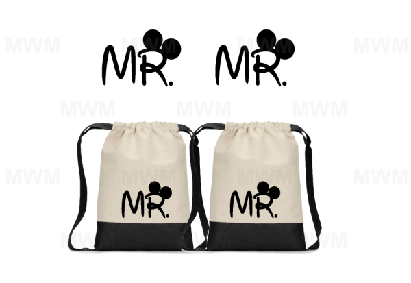 LGBT Gay Matching Couples Cotton Canvas Drawstring Pack for Mr, Soul Mate, Prince, Mickey, Ears contrast bottom