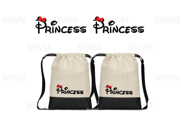 LGBT Lesbian Matching Couples Cotton Canvas Drawstring Pack for Mrs, Soul Mate, Princess, Minnie, Ears Bow contrast bottom