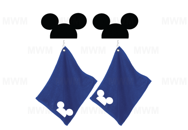 LGBT Gay Matching Couple Royal Blue Super Soft Velour Towels for Mr, Soul Mate, Prince, Mickey Mouse Kiss, Head, UltraClub large velour golf towel with corner silver grommet and hook