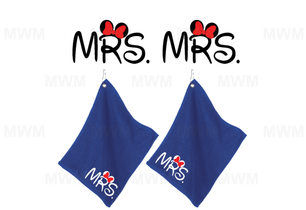 LGBT Lesbian Matching Couple Royal Blue Super Soft Velour Towels for Mrs, Soul Mate, Princess, Minnie Mouse, Ears Bow, UltraClub large velour golf towel with corner silver grommet and hook