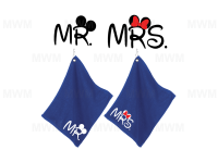 Matching Couple Royal Blue Super Soft Velour Towels for Mr Mrs, Soul Mate, Prince Princess, Mickey Minnie Mouse Kiss, Heads, UltraClub large velour golf towel with corner silver grommet and hook
