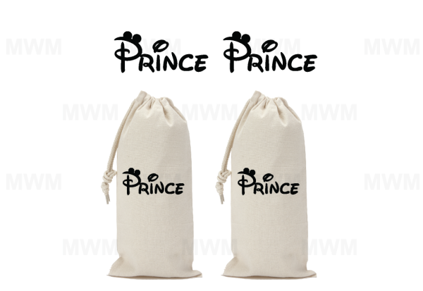 LGBT Gay Matching Couple Wine Bag for Mr, Soul Mate, Prince, Mickey Mouse Kissing, Heads, UltraClub Drawstring Wine Bag