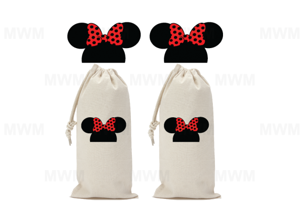 LGBT Lesbian Matching Couple Wine Bag for Mrs, Soul Mate, Princess, Minnie Mouse Kissing, Minnie Head Cute Polka Dot Bow, UltraClub Drawstring Wine Bag