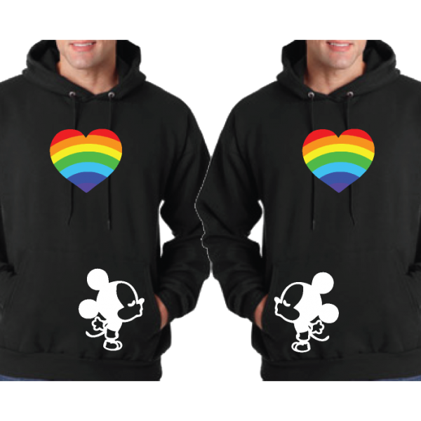 LGBT Gay Matching Couple Shirts His Mickey Mouse Cute Kissing With Rainbow Heart