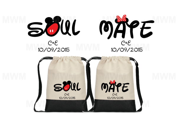 Custom Matching Couples Cotton Canvas Drawstring Packs Bags Tote for Soul Mate, Mr Mrs, Prince Princess, Mickey Minnie Mouse Cute Kissing, Mickey Minnie Mouse Head and Ears with Custom Names/Innitials and Date